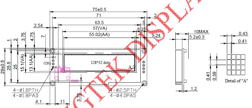防喷器手动锁紧计数器上用高亮12832OLED显示屏
