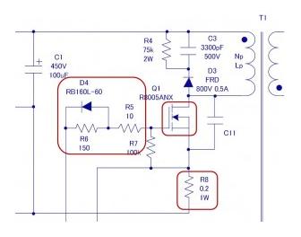 绝缘型反激式转换器电路设计之主要部件的选定-MOSFET相关(二)