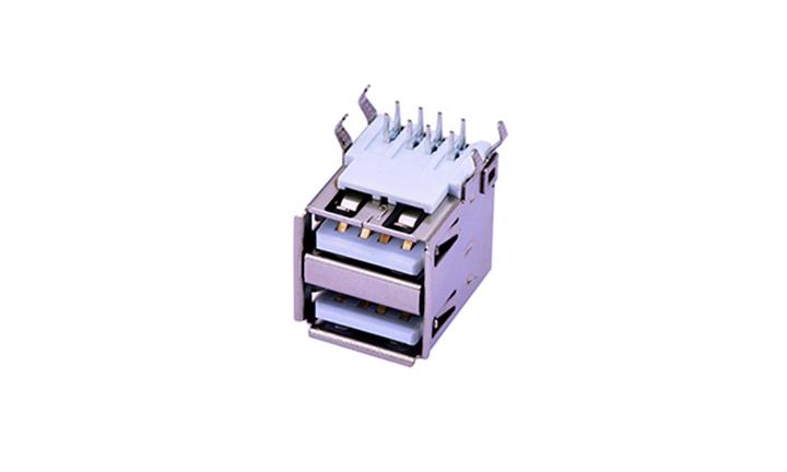FUS208A型�p��8�|�c90°插件母座 USB�B接器
