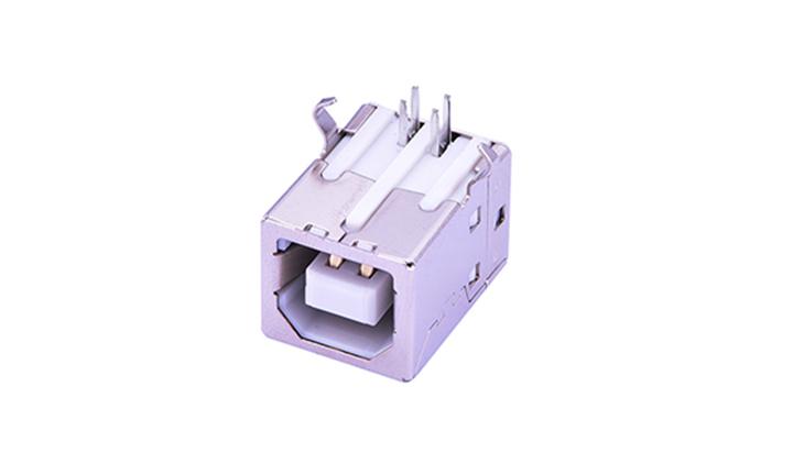 FUS213 B型 4�|�c 90°插件 母座 USB�B接器