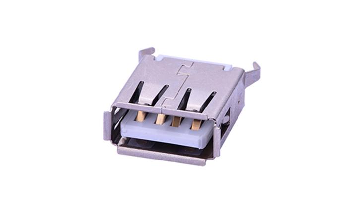 FUS218 2.0母座4Pin180°插件�F��USB�B接器
