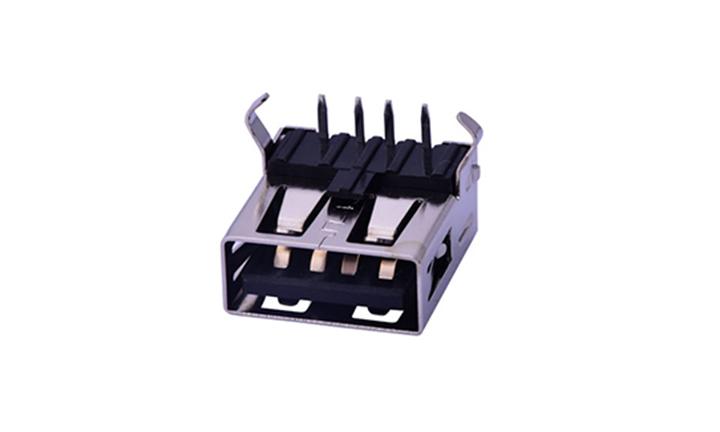 FUS250 2.0 A型 90°插件 母座 USB�B接器