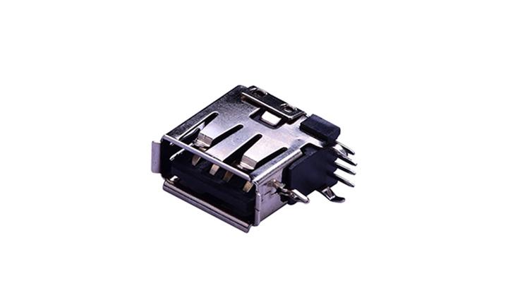 FUS268 A型 4�|�c 90°插件 母座 USB�B接器