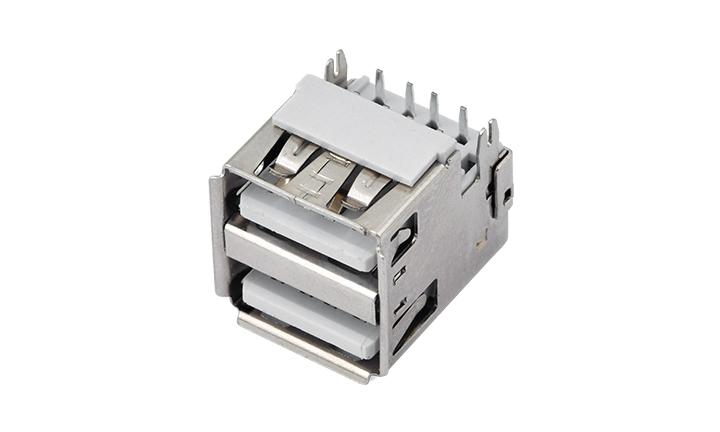 FUS271�p�� 90°插件 母座(沉板) USB�B接器
