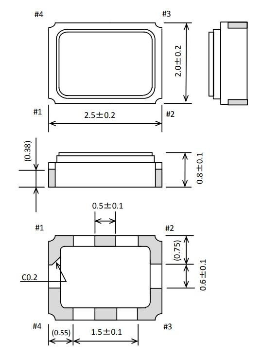 EPSON温补晶振TG-5006CG-10V 2520外部尺寸规模