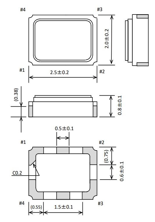EPSON温补晶振TG-5006CG-24L 16.369000 MHz  2520温补晶振外部尺寸规格
