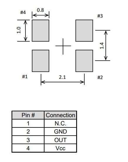 EPSON温补晶振TG-5006CG-24L 16.369000 MHz  2520温补晶振推荐焊盘尺寸