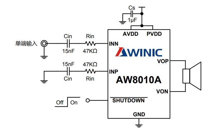 艾为音频功率放大器AW8010AFCR端输入方式应用图