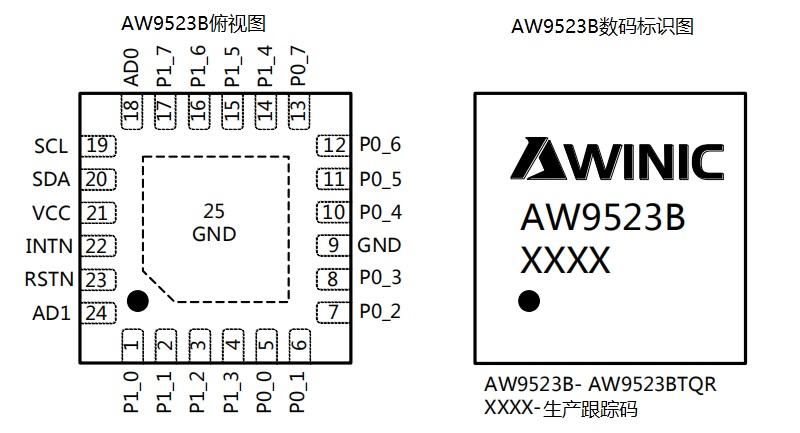艾为呼吸灯驱动AW9523BTQR直供终端
