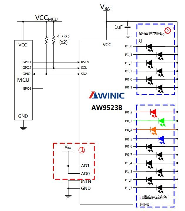 艾为呼吸灯驱动AW9523BTQR典型应用图一