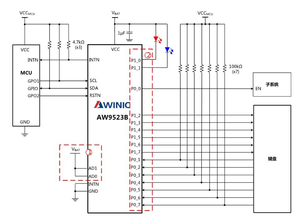 艾为呼吸灯驱动AW9523BTQR典型应用图二