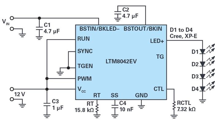 ADI - 多功能LED驱动器可使用高于或低于LED灯串电平的输入电压