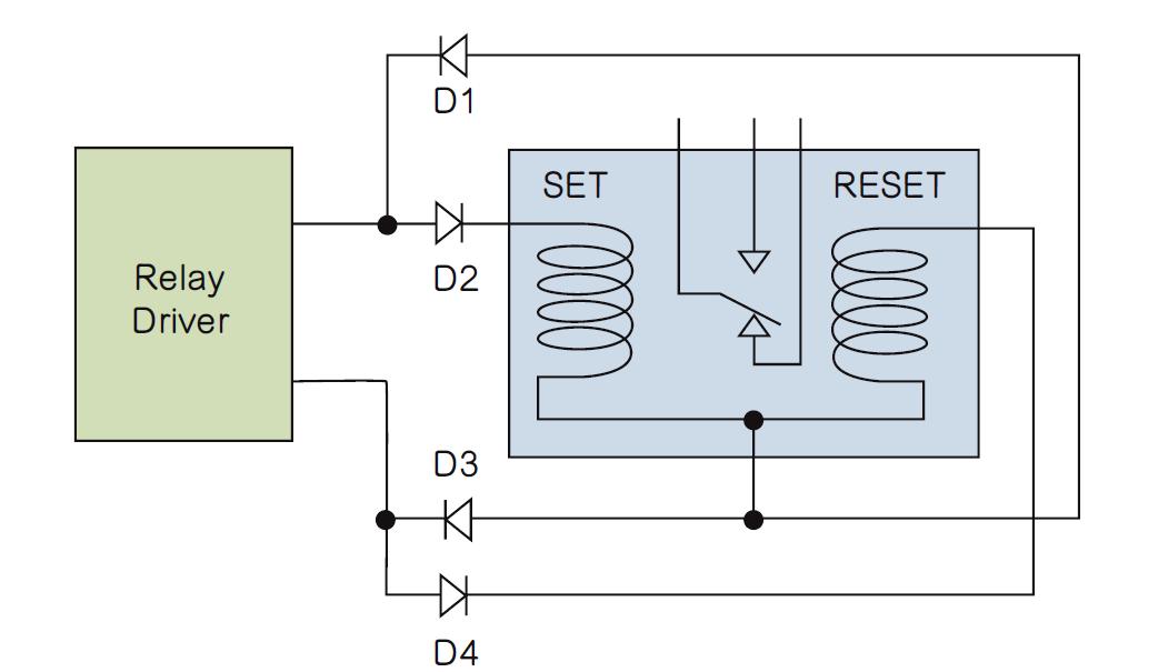 利用二极管电路实现双线圈锁存继电器的测试