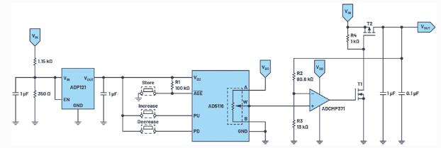 使用数字电位器来产生可调电压输出