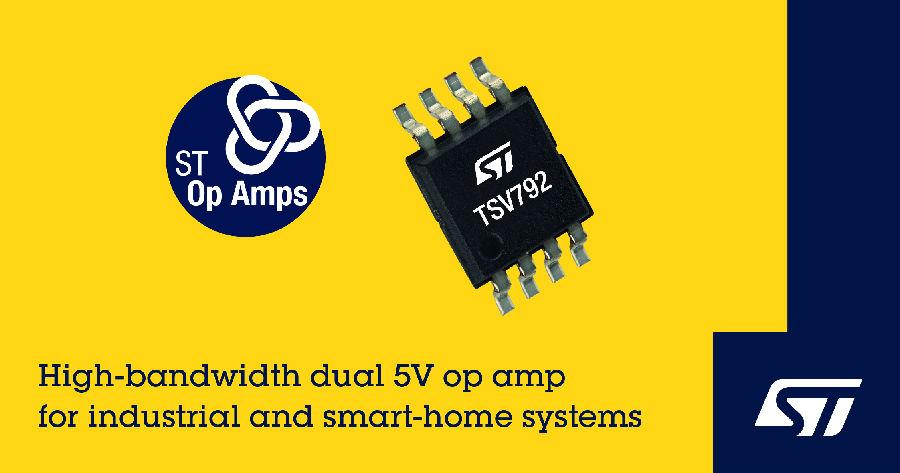 意法半导体50MHz高运放提升高速信号调理和电流检测性能